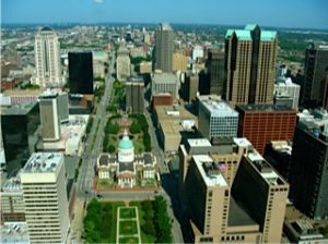 View from the Gateway Arch, St Louis