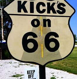 Kicks on 66 signpost