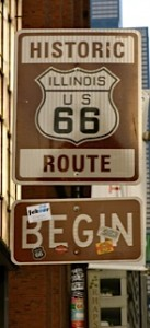 The start of route 66 signpost