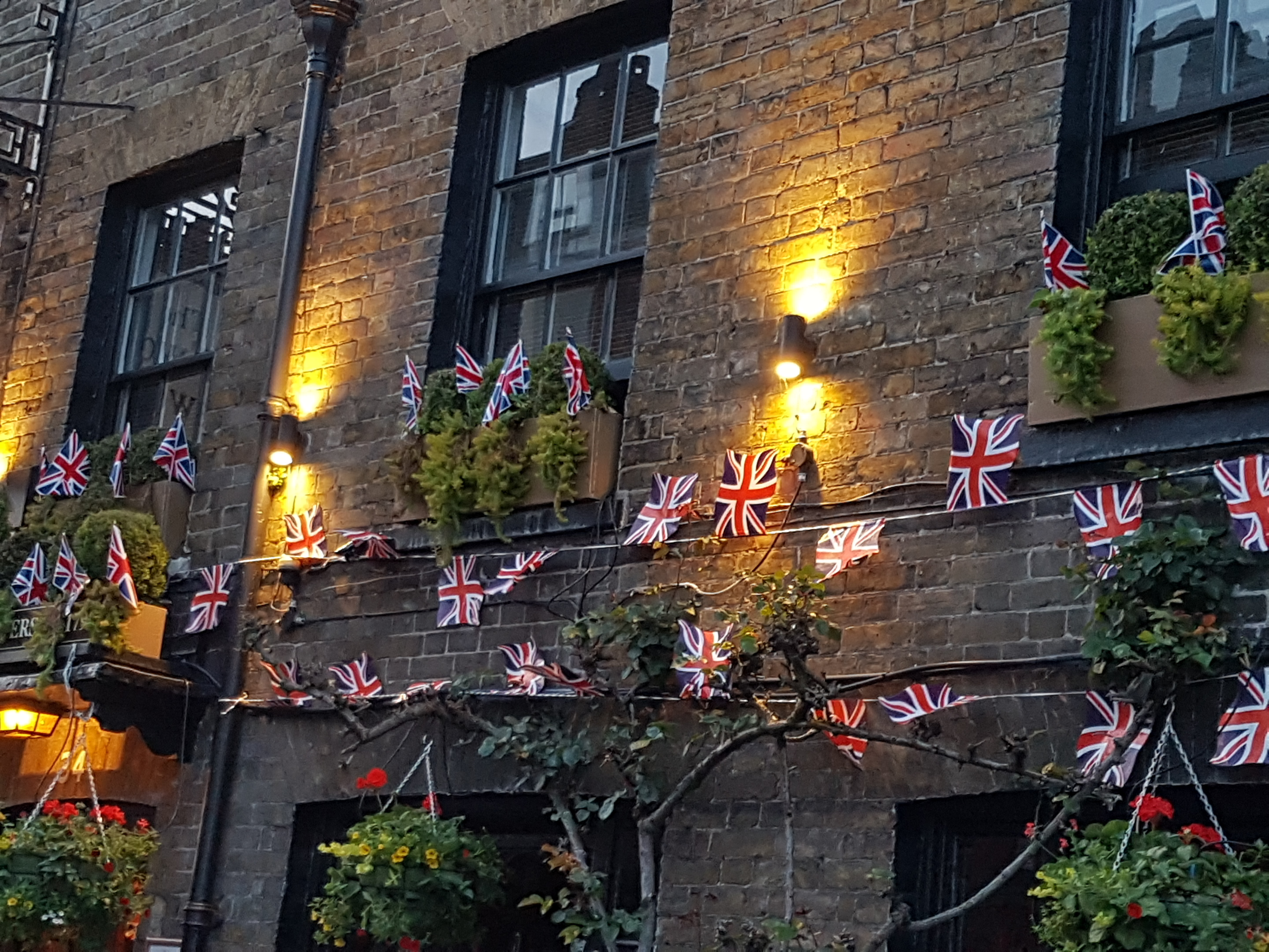 The Two Brewers pub in Windsor covered in flags